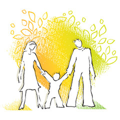 Young family, simple silhouette on colorful background