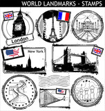 Fototapety WORLD LANDMARKS - STAMPS