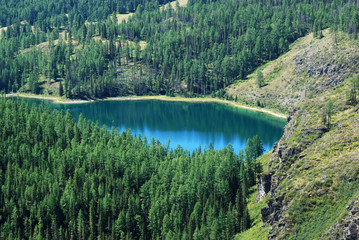 the alpine lake among mountains, Russia, Gorny Altai