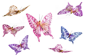 Collection of handcrafted butterflies