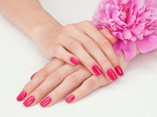 Woman beautiful hands with manicure and pink peony flower