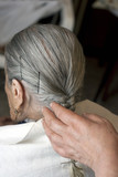 elderly woman with hairstylist poster