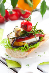 Grilled vegetables on toast