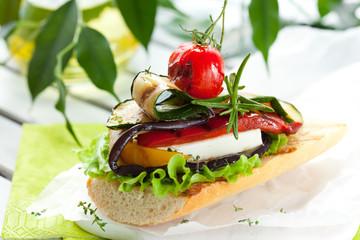 Grilled vegetables on toast