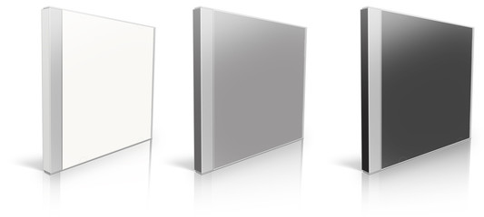 White, grey and black blank cd case