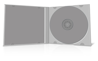 Grey blank cd case and disc