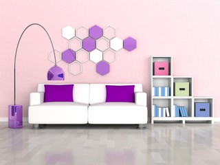 Interior of the modern room, pink wall, white sofa