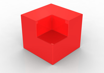Red abstract 3d cube