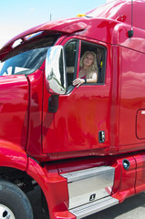 Blonde Woman truckdriver