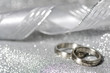 Wedding rings with a ribbon