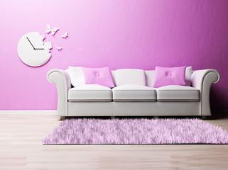 a nice romantic interior with a sofa