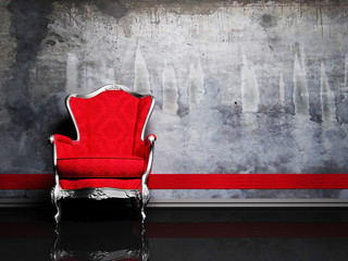 Interior design scene with a red retro armchair
