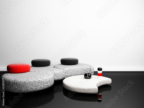 Modern  interior with a creative pouf and a table in minimalism
