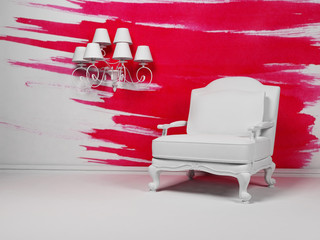 White armchair and a chandelier on the pink background