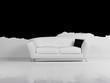 Modern  interior design of living room with a white sofa