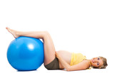 Pregnant woman with gymnastic ball isolated on white