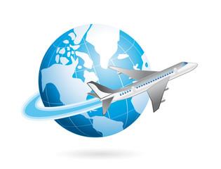 voyage en avion autour de la  planète