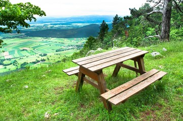 Picnic area in mountains