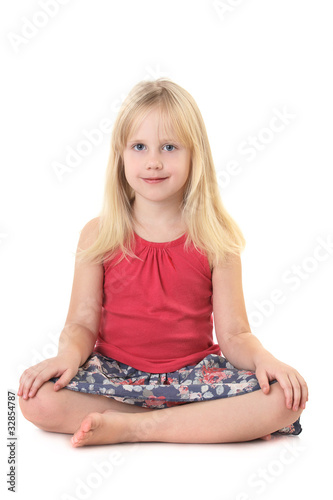 Child girl isolated on white