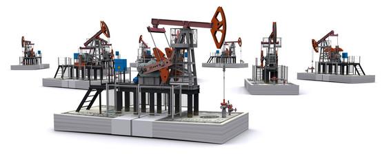 Oil pump-jacks stands on a packs of dollars