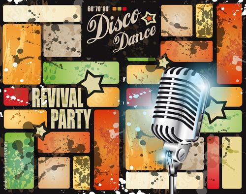 Staande foto Muziekwinkel Retro' revival disco party flyer