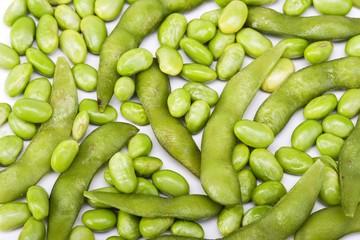 Edamame soy beans background macro