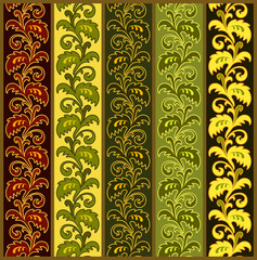 Vertical seamless floral borders in various colors