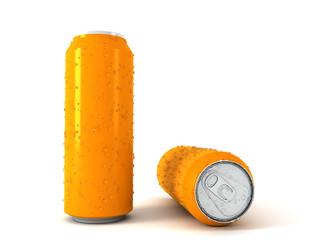 3d illustration of two orange aluminum cans