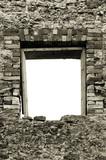 Ruined rustic limestone boulder rubble wall masonry stonework poster