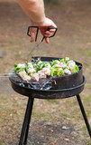 Grilling at summer weekend poster