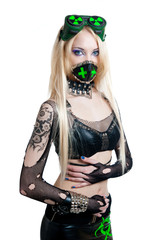 Beautiful cybergoth blonde girl
