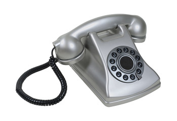 Silver Retro Desk Phone