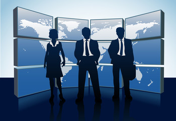 Business people silhouettes world map monitors