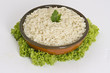 White steamed rice in round bowl