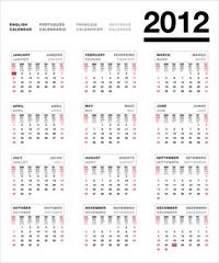 2012 calendário multilingue