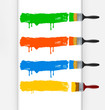 Four colors paint brushes. Vector.