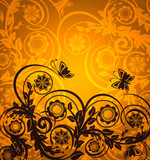 vector. orange floral ornament with butterfly