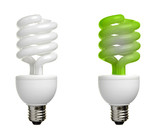 eco and regular fluorescent bulb poster
