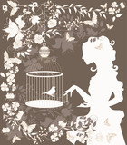 Vintage background with flowers, bird and girl silhouette