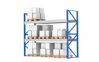 Shelves.Medium Stock Level. Part of a Blue Warehouse series