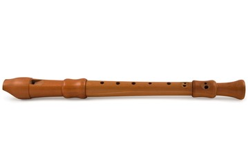 wooden flute on a white background