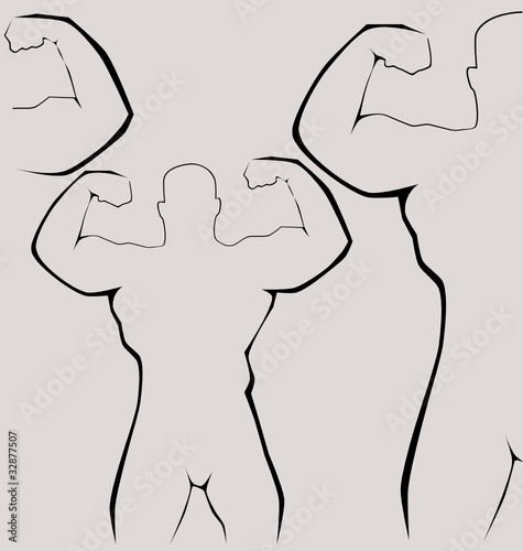 Strong man silhouette - healthy life concept