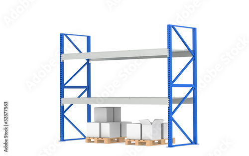 Shelves. Low Stock Level. Part of a Blue Warehouse series