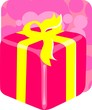 Illustration of gift box tied with yellow ribbon