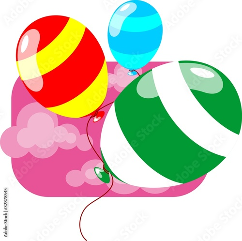 Bunch of colourful balloons with tag