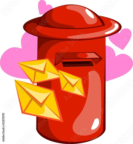 Illustration of envelops near post box