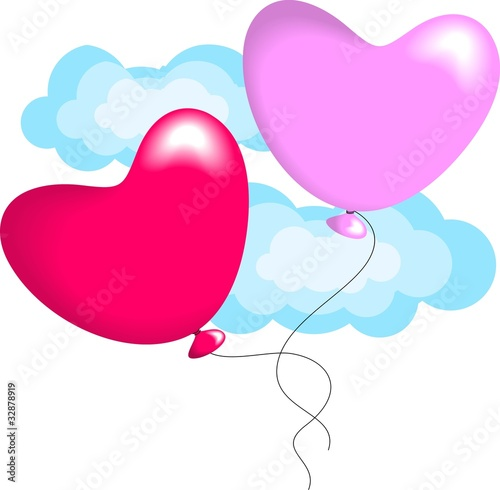 Bunch of heart balloons with tag