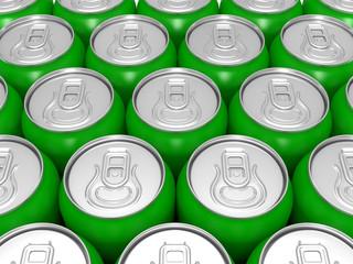 aluminium green beer cans