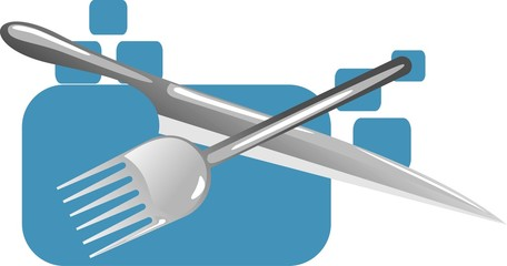 illustration of fork spoon and knife isolated