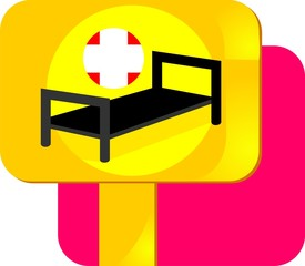 Illustration of silhouettes bed with cross symbol
